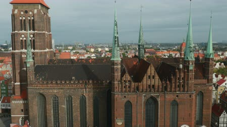 marys : Poland, Pomeranian Voivodeship, Gdansk, Elevated view of the Old Town, St. Marys Basilica Stock Footage