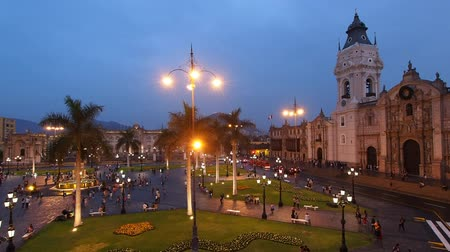 plaza de armas of lima : Cathedral and Plaza de Armas at twilight, elevated view, Lima, Peru