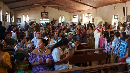 hanga : Easter Sunday Mass in Hanga Roa, Easter Island, Chile Stock Footage