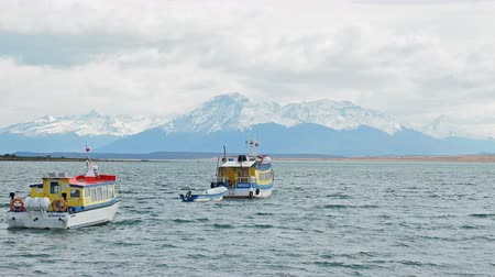Bateaux, dans, amiral, montt, golfe, puerto natales, ultima esperanza, province, patagonia, chili