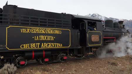 rozchod : Old Patagonian Express La Trochita, steam train, Nahuel Pan Train Station, Chubut Province, Patagonia, Argentina