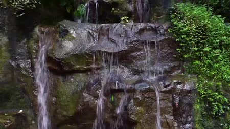 libra : water streaming over some big rocks, small garden waterfall, backyard decorations, nature background
