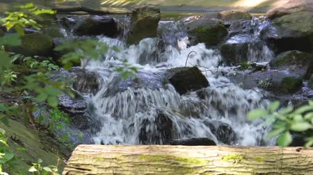 streaming water over rocks in closeup, beautiful garden architecture, nature background or a tiny waterfall