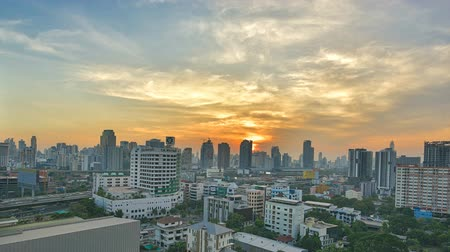 capital cities : Sunset to night in bangkok city time-lapse silhouette golden time