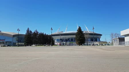 gazprom : St.Petersburg, Russia - 9 may, 2018: 21st FIFA world Cup 2018. Stadium Saint-Petersburg. Zenit Arena football stadium on Krestovsky opened in 2017 FIFA Confederations Cup. Sports complex SIBUR arena