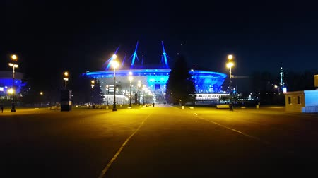 gazprom : St.Petersburg, Russia - 14 may, 2018: 21st FIFA world Cup 2018. Stadium Zenit Arena, football stadium Saint-Petersburg on Krestovsky opened in 2017 FIFA Confederations Cup. Night illumination of arena Stock Footage
