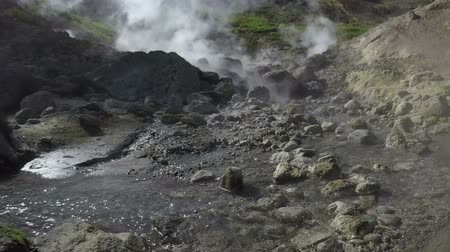 volcanology : Kamchatka Peninsula, Dachnye Hot Springs located at foot of active Mutnovsky Volcano: geothermal field, activity of natural volcanic hot springs - hot gas, steam and flowing stream with thermal water.