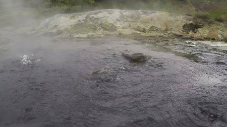 volcanology : Dachnye Hot Springs located at foot of active Mutnovsky Volcano in Kamchatka Peninsula: boiling water in natural volcanic hot springs.