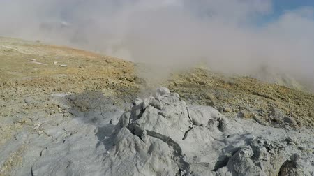 sulfur : Geothermal activities on Kamchatka Peninsula - view of mud volcano eruption clouds of vapor, hot gas and steam. Dachnye Hot Springs, Mutnovsky Volcano, Kamchatka Region, Russian Far East, Eurasia.