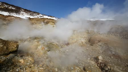 volcanology : Wild nature of Kamchatka Peninsula - Dachnye Hot Springs located at foot of active Mutnovsky Volcano: geothermal field, activity of natural volcanic sulfur hot springs erupting from fumaroles clouds of hot gas, steam. Eurasia, Russian Far East.