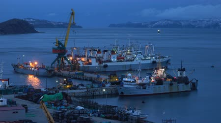 night scape : PETROPAVLOVSK KAMCHATSKY CITY, KAMCHATKA PENINSULA, RUSSIA - 16 MAY, 2018: Evening view of large freezing fishing trawlers, crab processing ship and other fishing vessels anchored at pier in seaport.