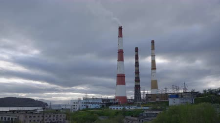 enterprise : PETROPAVLOVSK KAMCHATSKY CITY, KAMCHATKA, RUSSIAN FAR EAST - 3 JUNE, 2018: Kamchatka CHPP-1 - largest power plant in Kamchatka Region, located in Petropavlovsk-Kamchatsky, is part of Kamchatskenergo (RAO Energy Systems of East), owned by RusHydro.