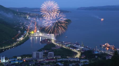 night scape : PETROPAVLOVSK KAMCHATSKY CITY, KAMCHATKA PENINSULA, RUSSIA - JULY 7, 2018: Celebration fireworks on Fishermans Day (Day of Fisherman). Firecracker over city, seaport on mountain shore of Pacific Ocean