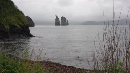 petropavlovsk : Stunning Kamchatka Peninsula seascape - beautiful view of wild natural landscape - rocky islands in the sea - Three Brothers Rocks in Pacific Ocean on cloudy day. Eurasia, Russian Far East, Kamchatka Region. Stock Footage