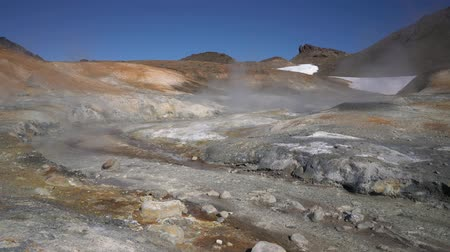 volcanology : Stunning volcanoes landscape: aggressive natural hot springs source, vapor, fumes, surrounded by fumaroles. Geothermal field active volcano:.