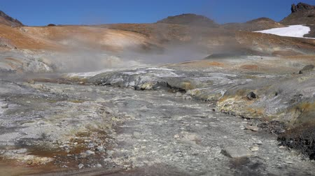 sulfur : Stunning volcano landscape of Kamchatka: aggressive natural hot springs, fumes, fumes surrounded by fumaroles. Geothermal field active volcano: travel Stock Footage