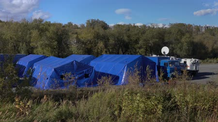 солдаты : KAMCHATKA PENINSULA, RUSSIA - OCT 2, 2018: Military field tents of Kamchatka Rescue Center Ministry of Civil Defence, Emergencies and Disaster Relief of Russia. All-Russian civil defense training.