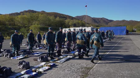 rescuer : KAMCHATKA PENINSULA, RUSSIA - OCT 3, 2018: Commanders carry out verification of individual equipment from rescuers of Kamchatka Rescue Center Emercom of Russia. All-Russian civil defense training