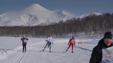 ski run : KAMCHATKA PENINSULA, RUSSIAN FAR EAST - FEBRUARY 9, 2019: Group of skiers running along winter ski track on background of Avachinsky Volcano. All-Russia mass ski race - Ski Track of Russian Federation Stock Footage