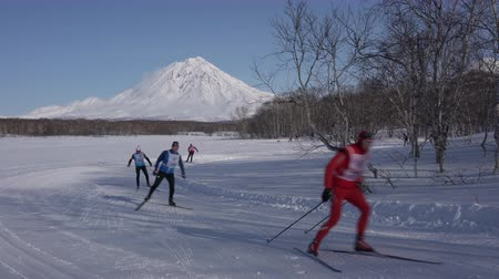 ski run : KAMCHATKA PENINSULA, RUSSIAN FAR EAST - FEBRUARY 9, 2019: Group of skiers running along winter ski track in forest on background of volcano. All-Russia mass ski race - Ski Track of Russian Federation.