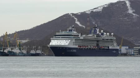 expedição : KAMCHATKA PENINSULA, RUSSIA - 2 MAY, 2019: Cruise Liner Celebrity Millennium (Celebrity Cruises) sailing against backdrop mountains coastline commercial sea port Petropavlovsk-Kamchatsky. Zoom in. Vídeos