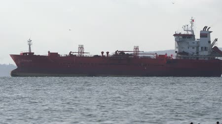 russian far east : PACIFIC OCEAN, KAMCHATKA PENINSULA, RUSSIAN FAR EAST - 13 MAY, 2019: Commercial chemical tanker and oil products tanker Pandar (Morskoy Standart Co Ltd) sailing in sea under flag of Russian Federation