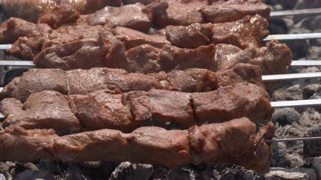 espetos : Appetizing juicy pork shish kebabs cooking on metal skewers on charcoal grill with fragrant fire smoke. Close-up view, selective focus on tasty pieces of roast meat. Cooking during summer picnic Stock Footage