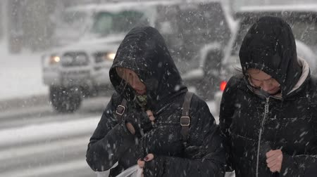 gale : Two women in black winter jacket and hood walking through snow on city sidewalk during snowfall, blowing snow, gale during Pacific cyclone, hiding faces from snow storm. Kamchatka - Nov 15, 2019 Stock Footage