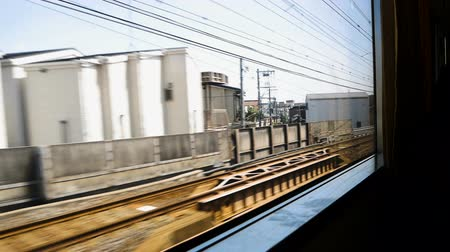 rapid transit : Footage of High Speed electric train are running on the railroad tracks in Japan.