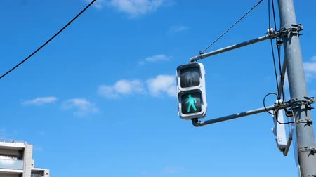 stoplight : Pedestrian Traffic Lights footage show from stop walking light to keep walking light. Red light to Green light. Stock Footage