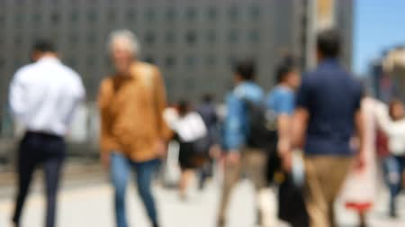 daily : Anonymous crowd of people walking on walk way in rush hour. Stock Footage