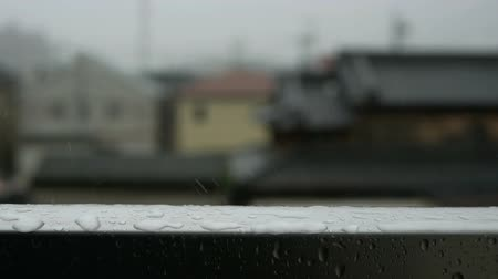 fogged : Raindrops falling on frame of window. Rainy season