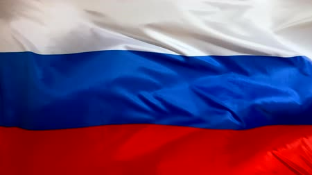 Russian flag waving in the wind close-up. The wind is blowing from right to left. Background for news, movies and more.