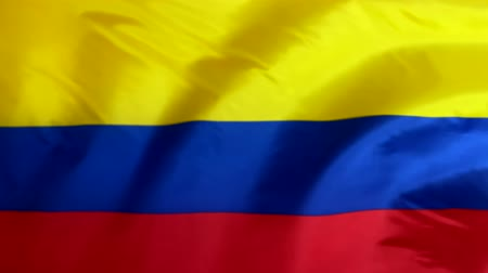 Colombia flag waving in the wind. Colombian flag close up.