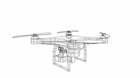 impressão digital : Drone concept. 3d illustration turntable video Stock Footage