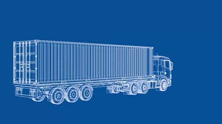camionagem : European truck blueprint style. 3d illustration turntable video
