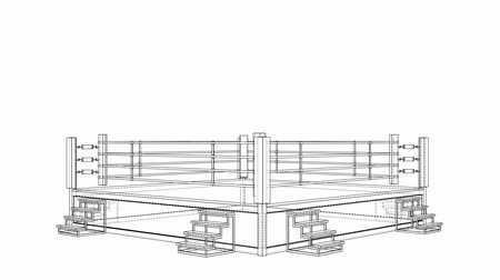 zapasy : Boxing ring blueprint style. 3d illustration turntable video Wideo