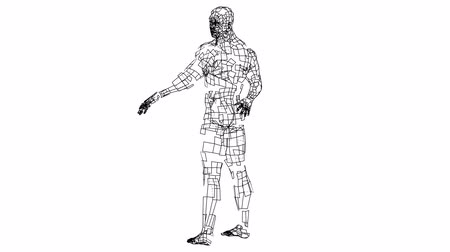 Digital lines create athlete body shape, digital concept 動画素材