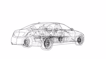 model s : Concept car blueprint style video