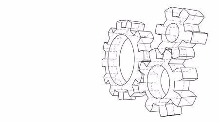 part of the frame : Gear wheels rotating. Seamless loop