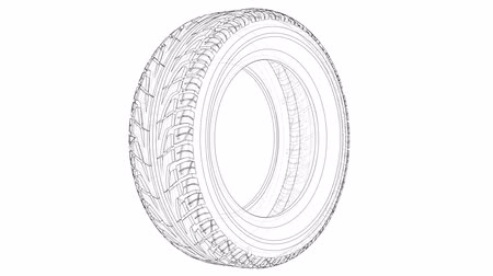 koruyucu : Sketch of car tire. 3d illustration turntable video