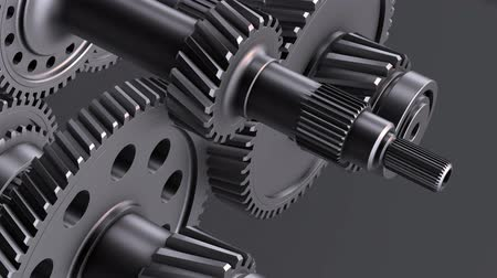 Rotating metal gears, shafts and bearings