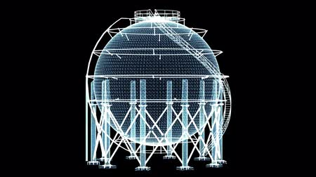 ワイヤフレーム : Spherical gas tank consisting of luminous lines and dots