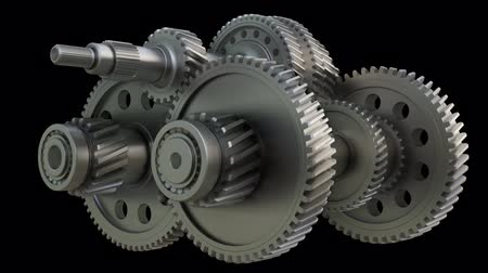 cogwheels : Abstract Gearbox Concept. 3D illustration video