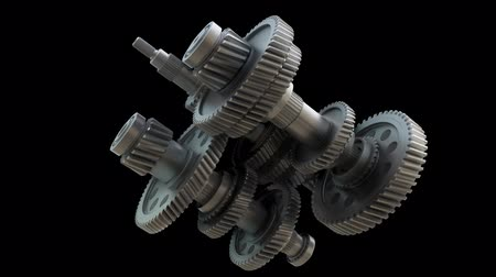 interlock : Abstract Gearbox Concept. 3D illustration video