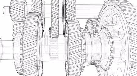 Outline gearbox concept. 3D illustration video