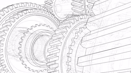 part of the frame : Outline gearbox concept. 3D illustration video
