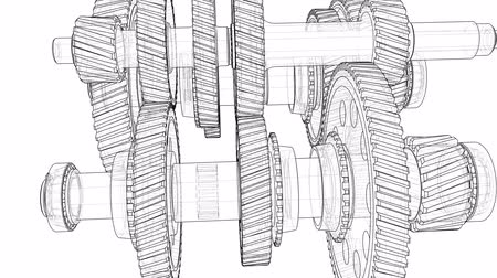 dizayn : Outline gearbox concept. 3D illustration video