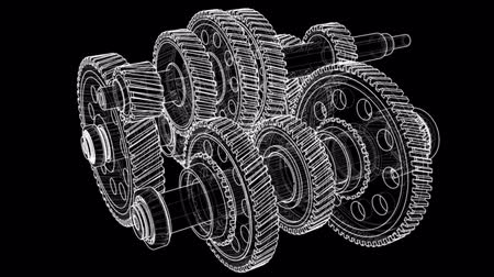 cogwheels : Outline gearbox concept. 3D illustration video