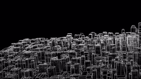 mimar : Outline city concept. 3D illustration video Stok Video